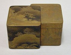 Incense Box with Designs of Pines Along the Shore and Young Pines. Edo period (1615–1868) Date: late 19th century