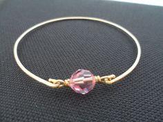 Pink Crystal and Brass Bangle Bracelet  by weddingbellsdesigns, $14.99