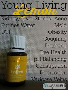 Young Living Lemon. Kidney/Liver stones, purifies water, UTI, acne, mold, obesity, coughing, detoxing, eye health, pH balancing, constipation, depression, varicose veins. Heartfelt Hullabaloo