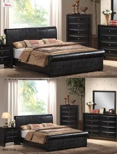 Queen Size Bed with Frame - Black Finish,  Dimension: Queen size bed... This is nice