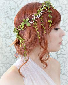 Leaf crown, medieval circlet, headdress, vine head piece, hair accessory on Etsy, $80.00