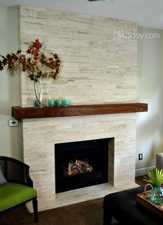 fireplace makeover before and after Family Room Fireplace, Home Fireplace, Fireplace Remodel, Fireplace Design, Fireplace Ideas, Fireplace Mantels, Mantel Ideas, Wood Mantle, Refurbished Furniture