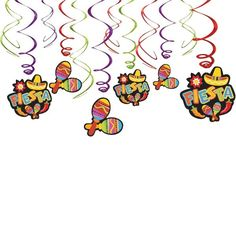 Check out Fiesta Foil Swirl Hanging Decorations - Reduced Birthday Party…