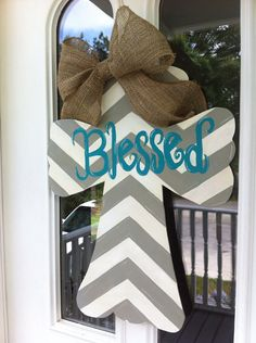 Painted wooden Cross Door Hanger with ribbon and Blessed chevron design. Cross Door Hangers, Wooden Door Hangers, Wooden Doors, Wooden Signs, Cute Crafts, Crafts To Do, Wood Crafts, Burlap Crafts, Dyi Crafts