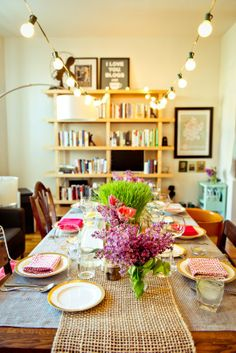 A Spring Vegetarian Dinner for Six. Beautiful party decor. #SideChefParty