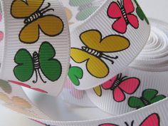 Butterflies Grosgrain Ribbon Trim per yard by FireflyCabin on Etsy