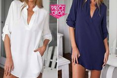 instead of (from EFMall) for a ladies' oversized boyfriend blouse - choose from navy or white and five sizes and save How To Get Warm, Shirt Dress, Blouse, 2 Colours, Stylish Outfits, Hemline, Derby, Boyfriend, Short Sleeve Dresses