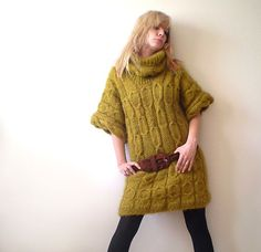 Citrine Knitted Minidress by subrosa123 on Etsy, €243.00
