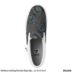 Modern swirling fractals Zipz slip on Printed Shoes