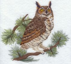 embroidery designs of owls | Machine Embroidery Designs at Embroidery Library! - Great Horned Owl ...