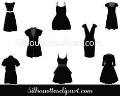 Party Dresses Vector Graphics pack - Silhouette Clip Art