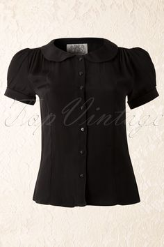 The Seamstress of Bloomsbury - 40s Jive Blouse in Black Crepe de Chine
