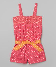 Look at this Pink Polka Dot Romper - Infant, Toddler & Girls on #zulily today!