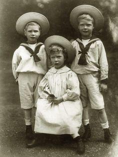 Three siblings: Prince Albert, Princess Mary and Prince Edward. Early 1900s.