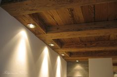 Different approach to down lighting from structural timber ceiling Kitchen Room Design, Home Decor Kitchen, Modern Interior, Interior And Exterior, Interior Design, Rustic Elegance, Modern Rustic, Basement Lighting, House Lighting