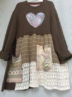 Upcycled plus size pullover sweatertunic, oversized shabby chic artsy patch