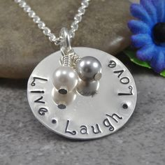 Hand Stamped Jewelry - Personalized Jewelry - Live Laugh Love Necklace - Sterling Silver Necklace