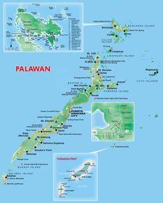 Kaart van de provincie Palawan, Filipijnen.