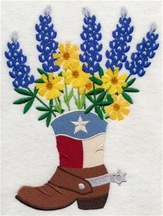 Flower Embroidery Ideas Texas Blooms in Cowboy Boot. Bluebonnets and coreopsis bloom from a Texas boot. Add western flair to tote bags, pillow shams, wall hangings. Flower Embroidery Designs, Embroidery Art, Machine Embroidery Designs, Embroidery Stitches, Embroidery Patterns, Embroidery For Beginners, Embroidery Techniques, Texas Quilt, H Design