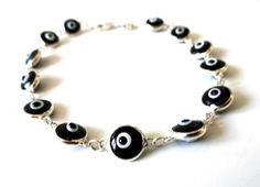 Silver bracelet-Sterling silver-Evil eye bracelet-Glass eye beads-Silver jewelry-Greek jewelry=Gift for her-Good luck jewelry-Evil eye