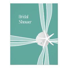 """Teal Starfish Bridal Shower Invitations, 5x4 4.25"""" X 5.5"""" Invitation Card"""