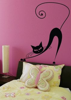 Love this! Vinyl Wall Decal Sticker Art - Pussy Cat Stretch. $22.95, via Etsy.