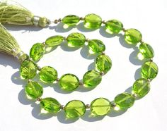 10 Inches AAA Peridot Green Quartz Faceted by GemsAndBeadsEmporium