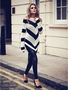 Like this chic leggings and top... love this. Have these leggings need this top!
