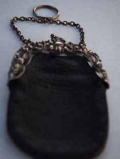 Antique Victorian German Silver Finger Chain Coin Black Leather Repousse Purse F