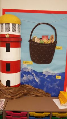 Another of my classroom displays for The Lighthouse Keepers Lunch. Small version this time. Library Displays, Classroom Displays, Classroom Themes, Nursery Display Boards, Lighthouse Keepers Lunch, Pirate Preschool, Vacation Bible School, Project Based Learning, Eyfs