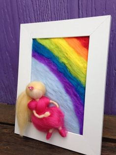 Rainbow Girl Needle Felted Painting by kniteeney on Etsy, $45.00