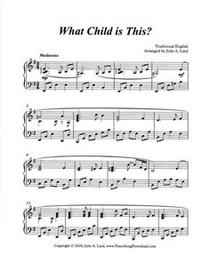 What Child is This, late intermediate to advanced Christmas arrangement. Free to download or print at Piano Song Download!
