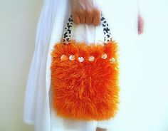Fluffy Hand Bag Knitted Luxury Orange Yarn Pouch by JustColor, $35.00