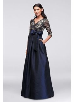 Floral Lace and Shantung Ball Gown JHDM1501