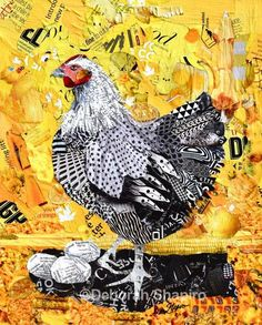 Henrietta the Hen Black and white hen on a yellow background. Contemporary original art and giclee prints for sale. Here's few things to look for in this collage: three yolks, a rubber ducky, corn, a peep and an umbrella. Collage Kunst, Paper Collage Art, Collage Artists, Newspaper Collage, Collage Collage, Chicken Art, Hen Chicken, Animal Quilts, Inspiration Art