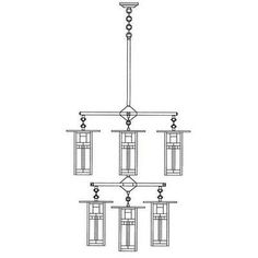 Arroyo Craftsman Franklin Long Body 6 Light Shaded Chandelier Finish: Rustic Brown, Shade Color: Yellow – Green