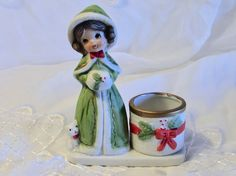 Bisque Porcelain Brown Haired Girl Candle Holder by LasLovelies