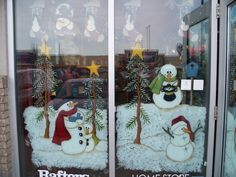 Christmas Window Painting Ideas | Colorful scenes, painted with lots of attention to detail