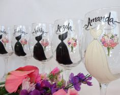 Hand Painted Wine Glasses - Bridal Glassware - Bridal Wine Glasses - Bridesmaid Gifts - PERSONALIZED to YOUR WEDDING