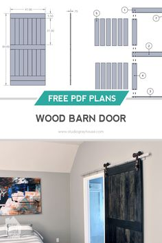 Make your own wood barn door using these free plans.