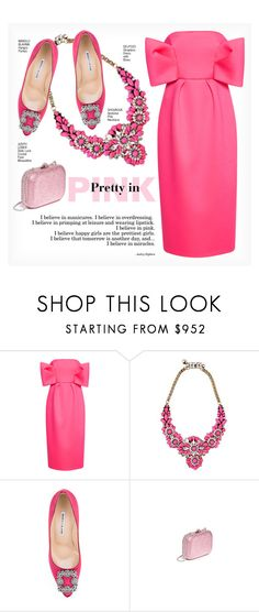 """PRETTY IN PINK"" by paint-it-black ❤ liked on Polyvore featuring Delpozo, Shourouk, Manolo Blahnik, Judith Leiber and monochromepink"