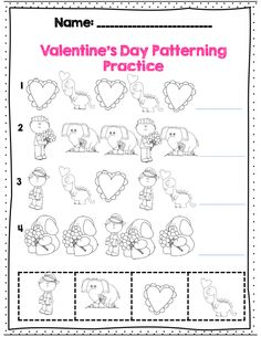 kdg pattern practice for Valentine's day, part of 21 pg Common core math packet
