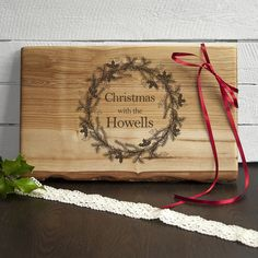 Large Personalised Welsh Ash Christmas Serving Board.  Designed and engraved by Treat Gifts, London