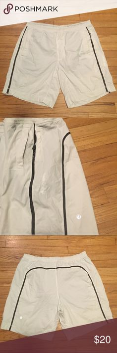 Lululemon mens white pace breaker shorts - Large Lululemon mens white pace breaker shorts - Large. Selling low as there is white paint on them but otherwise shorts and Luner in great condition. Waist - 18 inches. Rise - 10 inches. Inseam - 8.5 inches. lululemon athletica Shorts Athletic