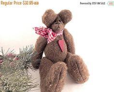 Teddy Bear Brown Fleece Stuffed Animal Red Heart Plaid Bow
