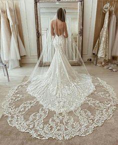 Chapel Length Bridal Veil Best Wedding Dresses, Bridal Dresses, Fitted Wedding Dresses, Best Wedding Ideas, Reception Dresses, Stunning Wedding Dresses, Amazing Dresses, Prom Dresses, Happy Brautmoden