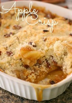 The Easiest Apple Crisp - my absolute favorite fall recipe! No oatmeal! Prep time is only minutes!! - www.thecountrycook.net