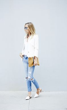 White Blazer // Distressed Denim