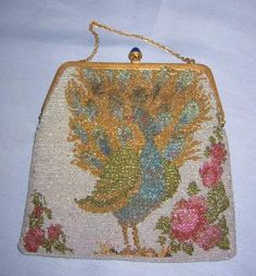 Awesome PEACOCK Glass Beaded Purse
