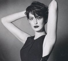 Anne Hathaway growing out a pixie cut